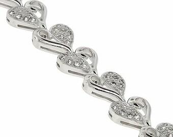 Cubic Zirconia Heart Bracelet in 925 Sterling Silver
