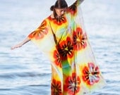 Floral Tunic -  Flower Therapy Style - Kimono dress - Orange - Yellow - Tunic maxi dress - Summer Party Dress - Beach Dress