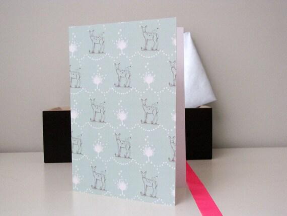 Cartes de Vœux imprimé Biche