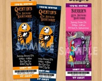 Sally Nightmare Before Christmas Invitation - Printable Birthday Halloween Invite - Kids Custom Halloween Invitation - Jack Skellington