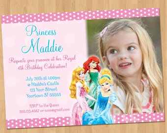 disney princess invitation disney princess party invitation personalized princesses birthday party invite disney princess - Disney Princess Party Invitations