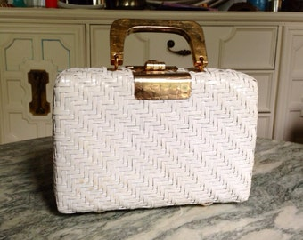 Vintage White Woven Purse with Gold Cuff Accent and Closure