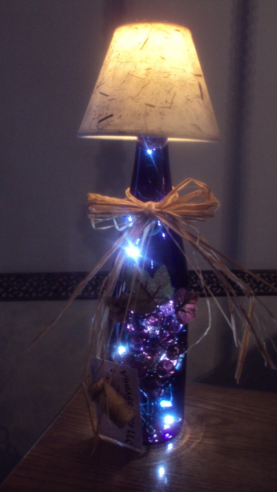 Wine bottle lamp with shade in deep cobalt blue by for Wine cork lampshade