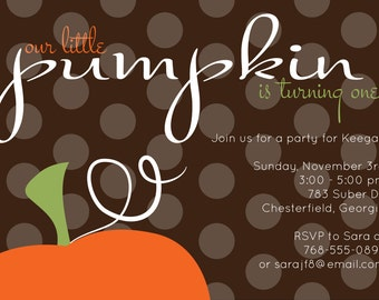 Our Little Pumpkin Party Invitation - Fall Birthday Party Invitation - Printable