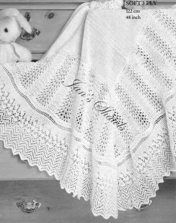 Babies Shawl With Lace Border knitting by knittingpatterns4you