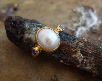 FREE SIZE Hand Forged Handmade Pearl / Amethyst Ring 18 k gold Vermeil Over 925 k Sterling Silver
