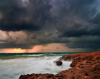 Landscape Photography,Seascape Photography, Beach, Storm, Wall Decor, Nature ,  Fine Art Photograph, Winter, Sunset