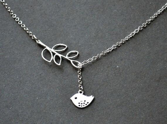 Assymetric Silver Bird Necklace, Sparrow Necklace, Bird Lariat Silver Branch Jewelry Bird Jewelry pendant beadwork bib strand statement eco