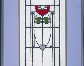 Dard Hunter Arts & Crafts Red Tulip Cross Stitch PDF Chart