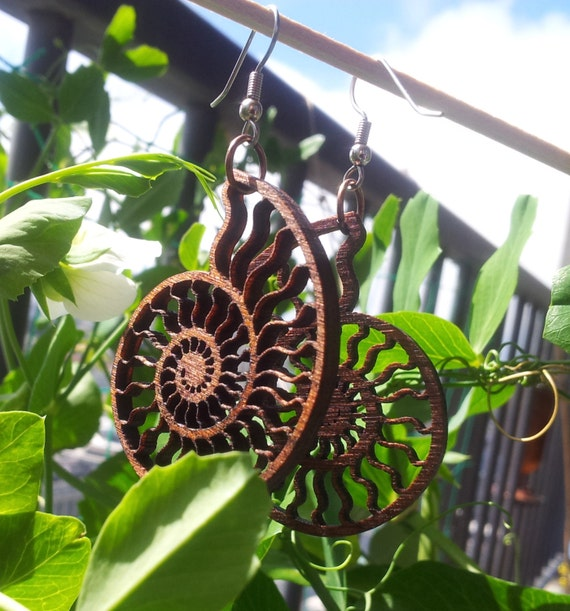 Ammonite Lasercut Wood Earrings - Nautilus