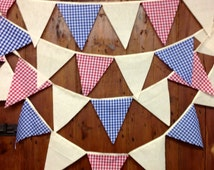 Rustic Calico & Gingham  Bunting Banner Flag to Flag Style 17ft 5mts 29 Flags  Natural Cotton Calico Red Blue Gingham