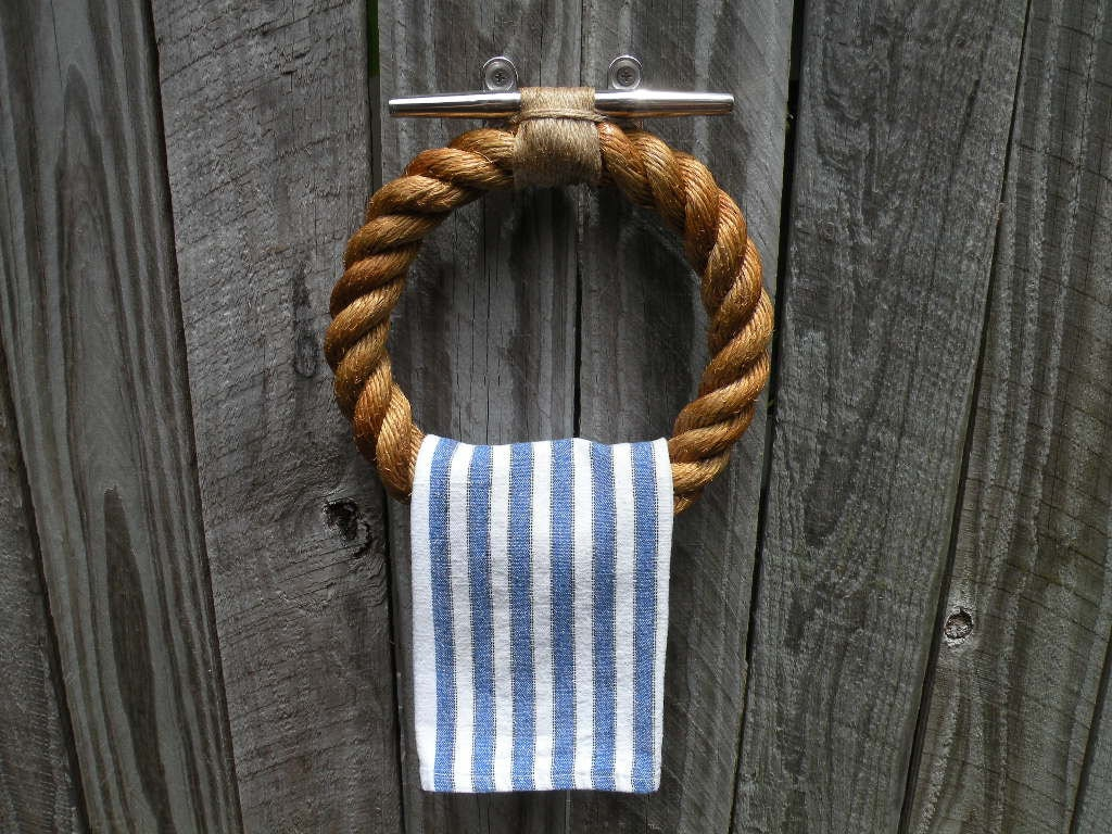 Coastal Towel Racks For Bathroom: TOWEL HOLDER ROPE Ring Handmade Nautical Decor Rope For