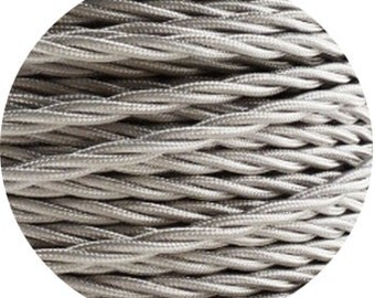 Fabric Textile cable wire for Lighting twisted 2x0.75 in silver EGST