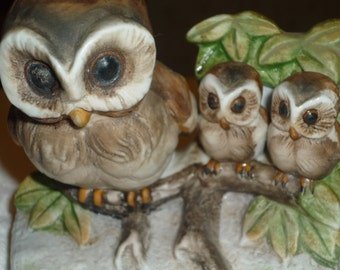 Hand Painted Owl Family Figurine