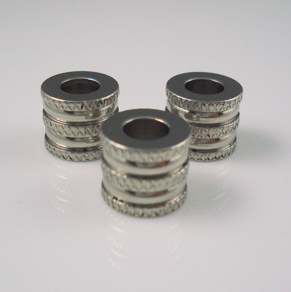 stainless steel 6mm etched and grooved bead for