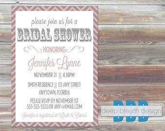 Pink & Gray Chevron Printable Bridal Shower Invitation