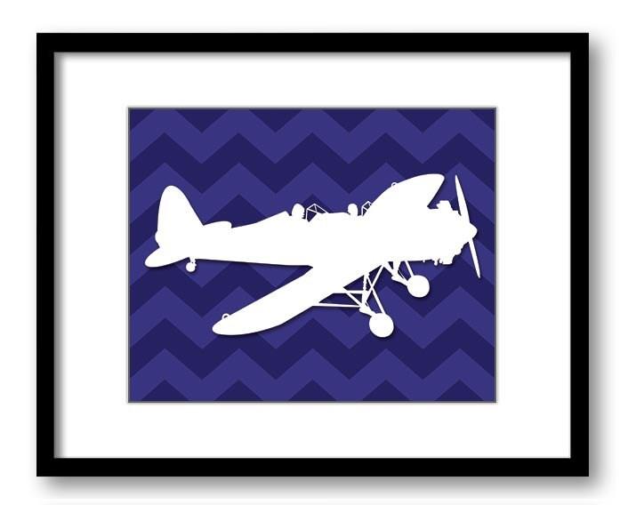 White Airplane Navy Blue Chevron Background Boys Kids Room Wall Art Print Boys Art Nursery Art Nurse