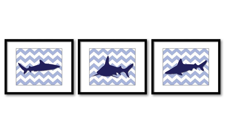 Shark Animals Art Prints Boys Art Print Chevron Set of 3 Blue Sharks Nursery Art Nursery Print Child