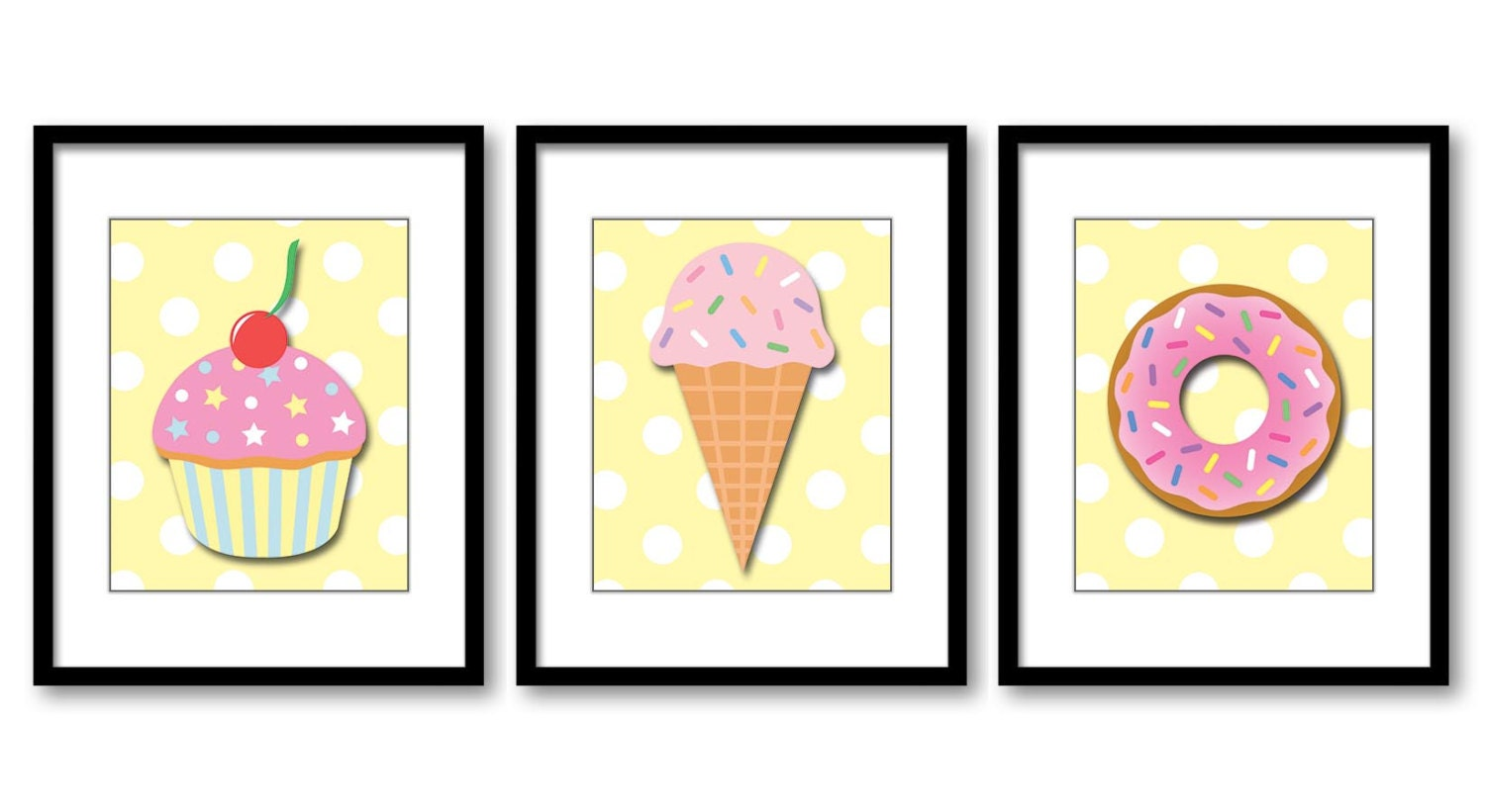 Pink Sweet Treats Yellow Polka Dots Print Set of 3 Donut Ice Cream ...