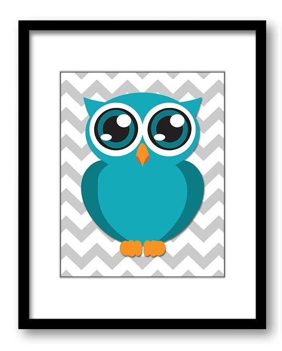 Owl Nursery Art Nursery Print Baby Art Grey Chevron Baby Animal Owl Turquoise Print Kids Wall Art Nu