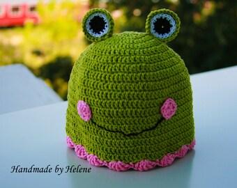 Newborn Girl Frog Hat & Diaper Cover Set