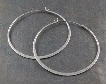 Silver Hoop Earrings, Large Silver Earrings, Hammered Silver Earrings