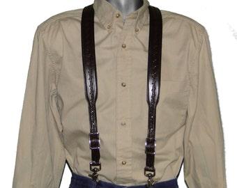 Barbed Wire embossed Dark Chocolate Brown Leather Suspenders