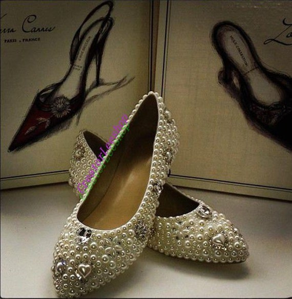 Ivory Flats With Pearls Ivory Flat Wedding Shoes