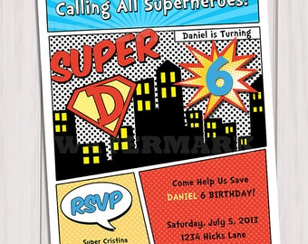 Superhero Birthday Party Invitation Personalized Printable / Superheroes Comic Book Invitation / Digital Printable Invitation