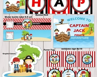 Pirate Birthday Party Package / Pirate Party Printable / Personalized Printable digital / PDF