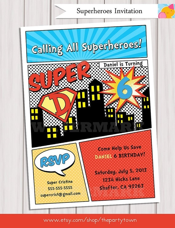 superhero birthday party invitation personalized printable /, Party invitations