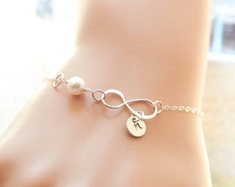 Personalized Infinity Bracelet, Initial Bracelet, Sterling Silver, Love, Mini Initial Charm, Friendship Bracelet, Gold, Rose Gold
