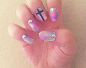 Acrylic Nails Pastel Studded w/ Cross