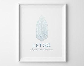 Yoga Poster, Let Go Inspirational Print, Blue Ombre Yoga Studio Decor, Yoga Artwork, Minimalist Poster