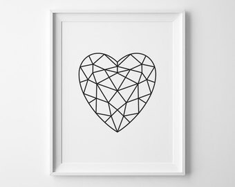 Boyfriend Gift for Him, Black Geometric Heart Print, Modern Bedroom Decor Kids Wall Art Modern Nursery Wall Art Bedroom Art, Valentines Sign