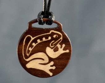 Walnut Frog Wood Inlay Pendant
