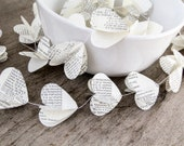 Paper garland bunting, wedding garland decor, heart garland, recycled book garland, party home decor, nursery banner, christmas decor