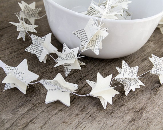 Paper garland bunting, wedding garland decor, star garland, christmas decor, recycled book garland, party home decor, nursery banner