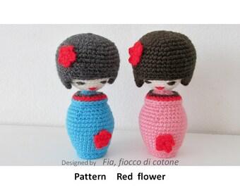 Amigurumi Free Pattern For Beginners : Items similar to Hattie Kokeshi Doll Amigurumi Crochet ...