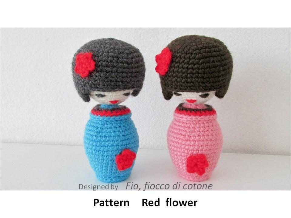Crochet Pattern For Yoda Doll : Pattern Red flower kokeshi doll amigurumi crochet by ...