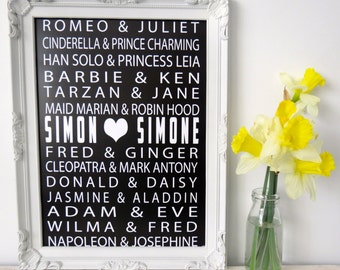 Print by Honey and Fizz - Perfect Partners - customised to feature your names.  Printed on matt 200gsm paper - white