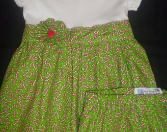 Christmas Candy Cane T-Shirt Dress with Matching Bloomers - Size 24M