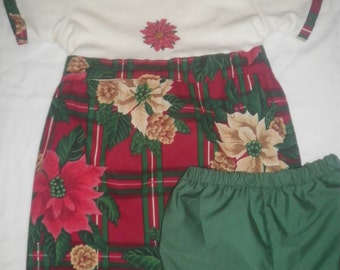 Christmas Embroidered Poinsettia T-Shirt Dress with Matching Bloomers - Size 4