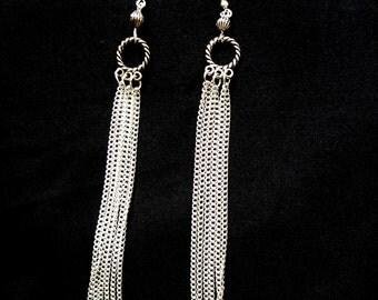 Silver chain tassle earrings, Long silver earrings, Silver chain earrings, Elegant silver earrings