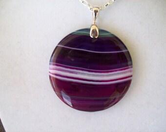 Purple Agate Stone Pendant