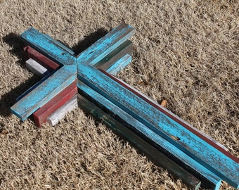 """Med/Small  Wooden Rustic Cross  24"""" tall, multi color"""