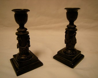 candle holders-pair of candle holders-Vine around column - brass.-mantel-table scape-