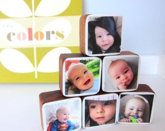 Personalized Baby or Pregnancy Photo Wood Blocks great baby shower gift, Christmas gift, Set of 6