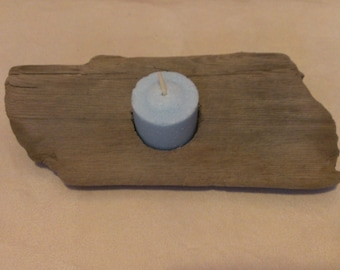 Handmade driftwood candle holder