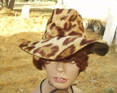 1970's Leopard Print, Floppy Brimmed Hat - Small Size